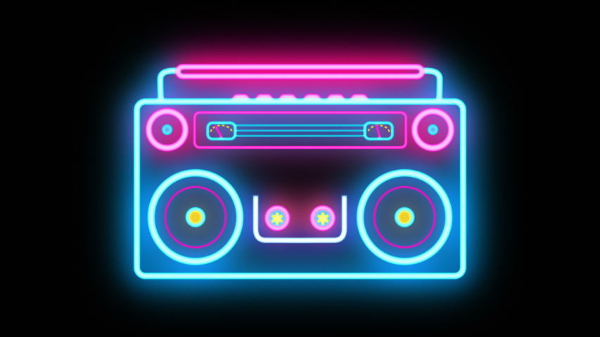 Abstract neon Retro Boombox Music Tape Recorder Radio Old Vintage cassette player for partys and dance occasions. Ghetto blaster with looping vibrating speakers and rolling cassette. Seamless VJ loop | Shutterstock HD Video #1042516609