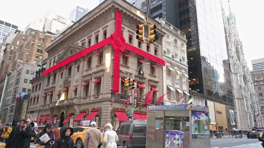 New York, New York, USA - December 5, 2019: Cartier Fifth Avenue  store decorated for the Christmas Holiday season.
