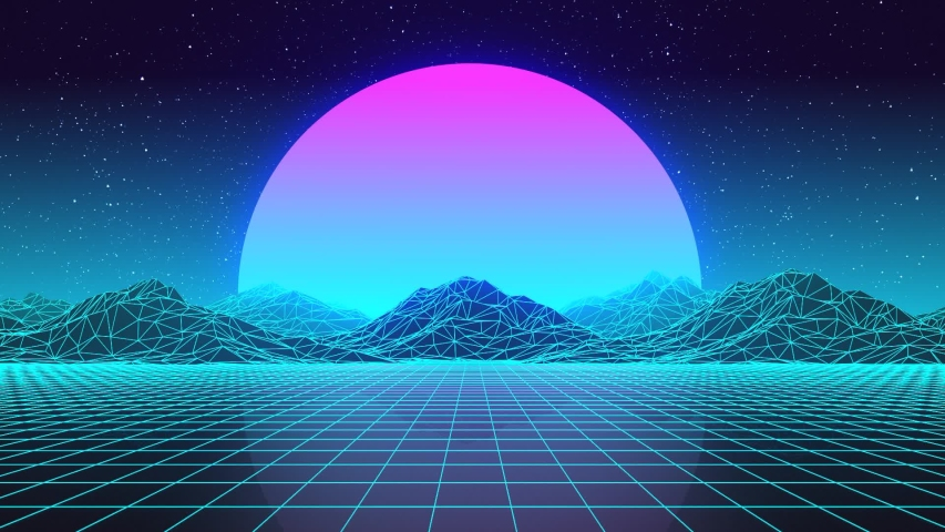 Synthwave Landscape Looped VJ Animation | Shutterstock HD Video #1042528426