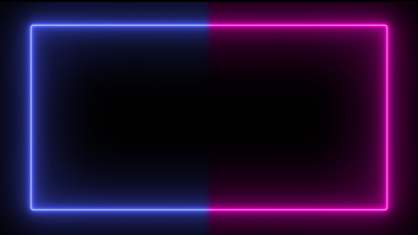 Abstract popular neon lines in blue and purple, modern trend frame with seamless lines in 4K. Background screen of luminous lines in the form of a square, moving animation. #1042532449