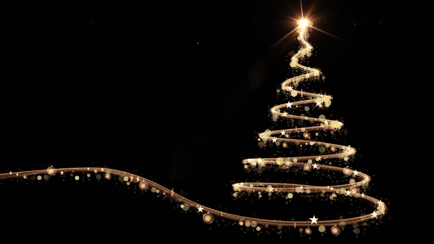 Glowing gold Christmas tree animation with snow and light on black. 4k | Shutterstock HD Video #1042539142