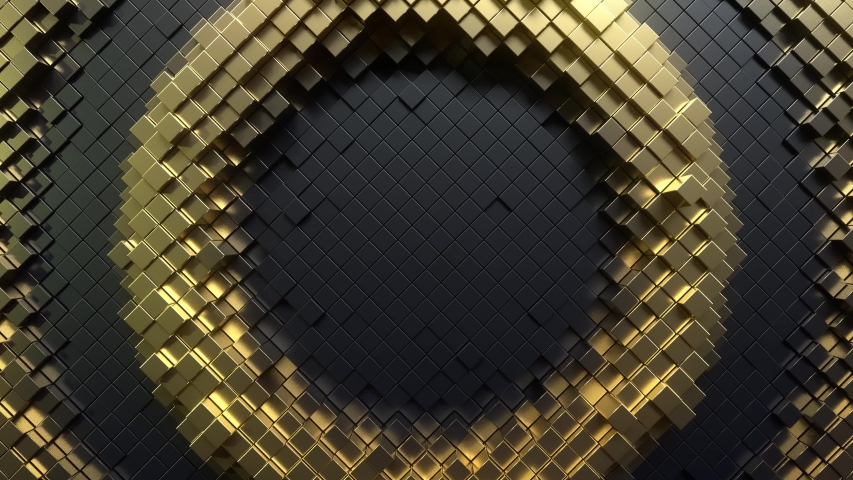 Abstract background with black and golden moving cubic surface. Geometric concept with radial ripples. Motion design pattern. 3d loop animation with box particles. Seamless technology composition. 4K  | Shutterstock HD Video #1042542679