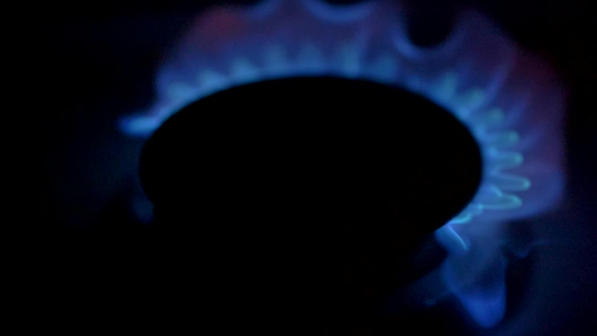 Blue flame of gas stove firing up gradually in dark room. Slow motion close-up shot | Shutterstock HD Video #1042545769