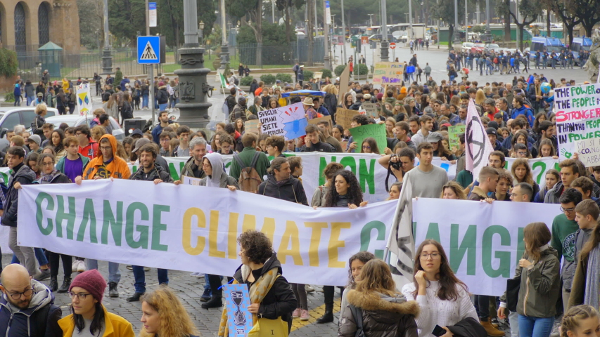 "Rome,Italy, 29 November 2019: portrait of "" Change Climate change"" banner. Rome,Italy, .Friday for Future"