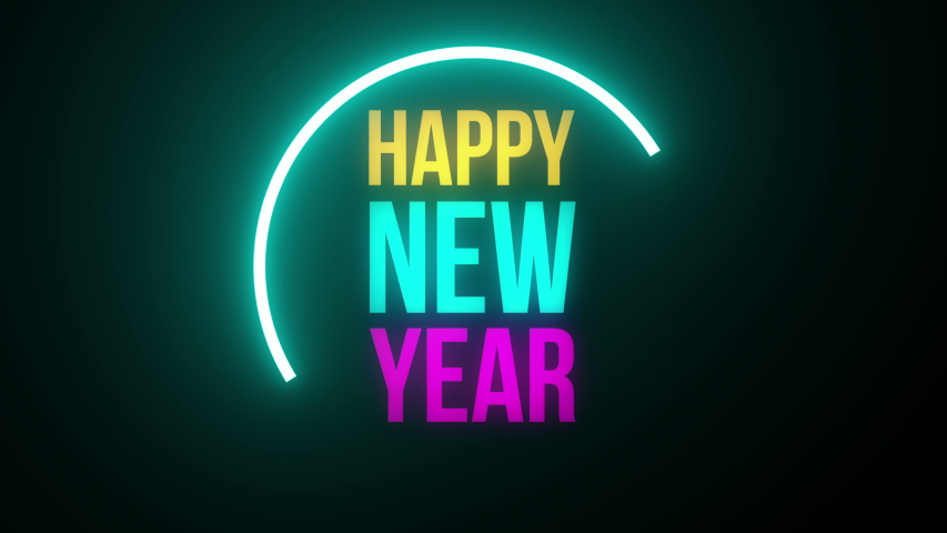happy new year neon art background Royalty-Free Stock Footage #1042561192