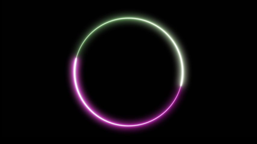 Abstract circle with colored lines, cycles, neon glowing, LED, modern background with backlight, animated design. #1042566481
