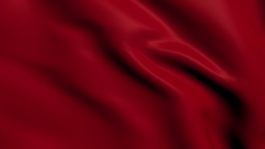 HD Red Waving Cloth in Motion.  Abstract Wavy Silk Textile Transition 3D Animation.