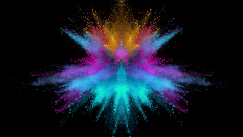 Super Slow Motion Shot of Mirrored Color Powder Explosion Isolated on Black Background at 1000fps.   Shutterstock HD Video #1042592305