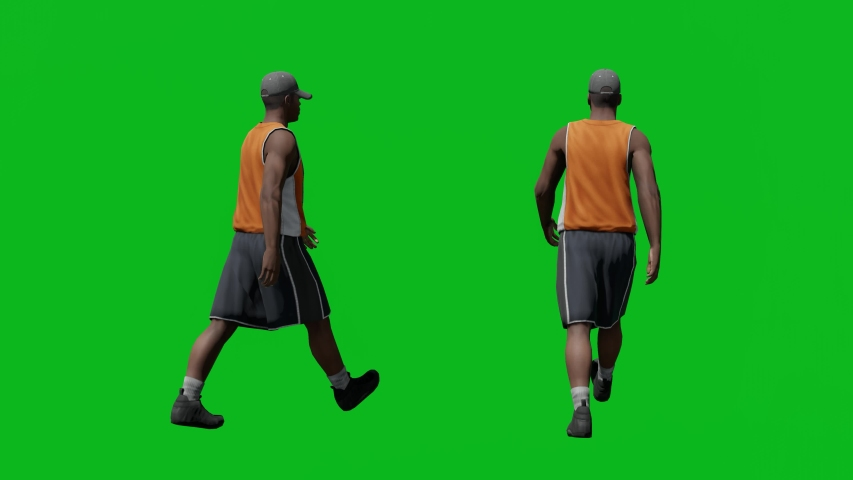 Casual african man with hat walking in back view, realistic 3D people rendering isolated on green screen. | Shutterstock HD Video #1042602913