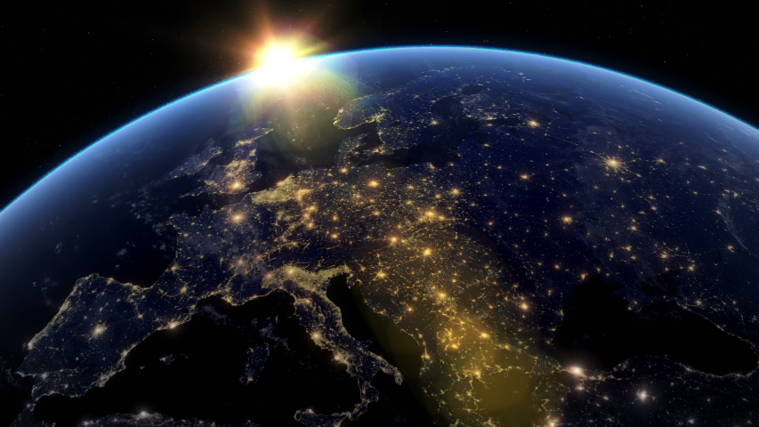 Beautiful Sunset over Europe. City Lights at Night. Planet Earth from Space. View from Space Satellite. 4k 3d Rendering. Images from NASA.