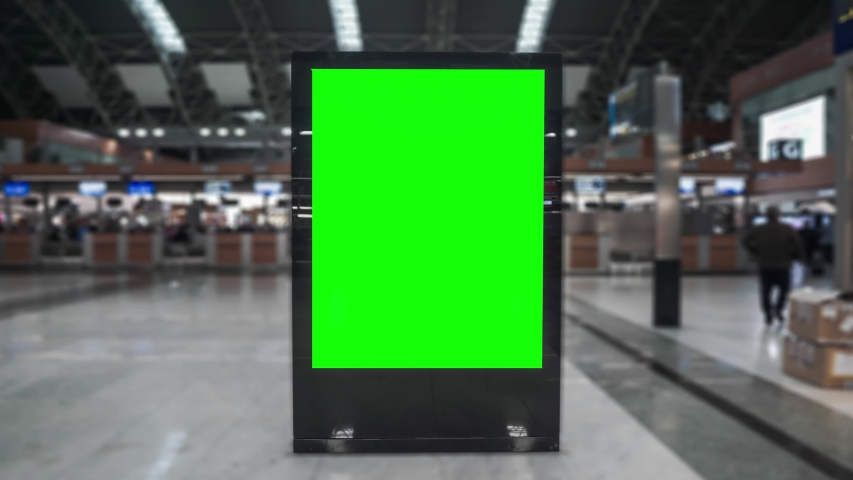 Airport hall billboard mock up with green screen, alpha channel. Business concept, indoor board, empty frame with chroma key.  | Shutterstock HD Video #1042621813