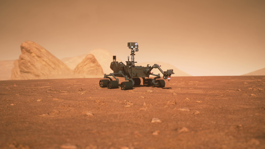 A Rover during a dust storm on the red planet. Highly detailed 3D animation of the Curiosity Rover on Mars.