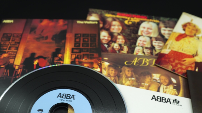 Rome, Italy - December 06, 2019: CD albums of the famous Swedish group ABBA. Their discography was the subject of many covers by thousands of more or less famous groups
