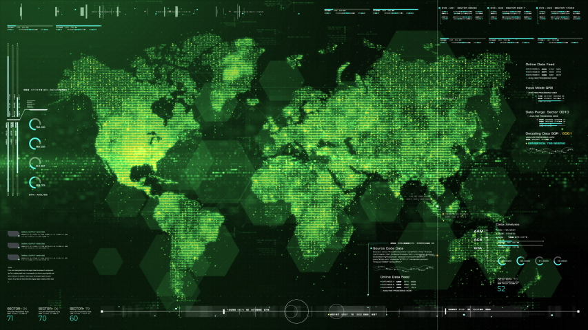 Futuristic HUD global communication via broadband internet connections between cities around the world with matrix particles continent map for head up display background | Shutterstock HD Video #1042676299