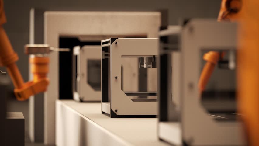 02286 Robotic Arm Assembling 3d Printer On Conveyor Belt | Shutterstock HD Video #10426796