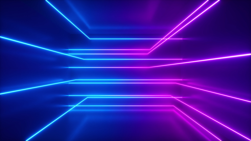 Abstract background, moving neon rays, luminous lines inside the room, fluorescent ultraviolet light, blue red pink violet spectrum, loop, seamless loop 3d render   Shutterstock HD Video #1042693174