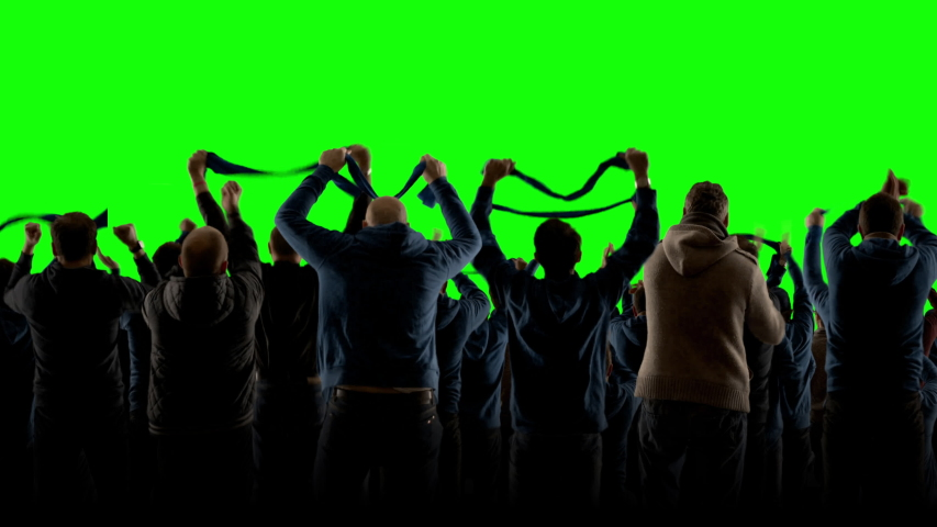 GREEN SCREEN CHROMA KEY Model released back view group of people fans wearing blue clothes celebrating during a sport event. 4K UHD ProRes 422 HQ | Shutterstock HD Video #1042694920