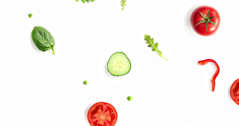 Motion animation with vegetables. vegetables animation on the white background. Top view 4k. | Shutterstock HD Video #1042697944