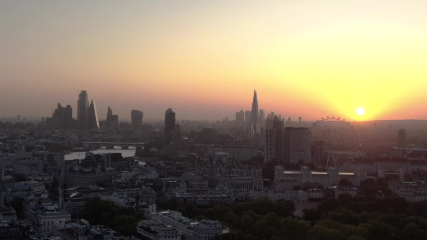 Aerial Droner Panoramic View Of London City Skyline And Thames River At Sunrise  #1042713784