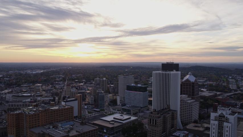 Rochester New York Aerial v37 Short moody cityscape at sunrise - October 2017 | Shutterstock HD Video #1042726240