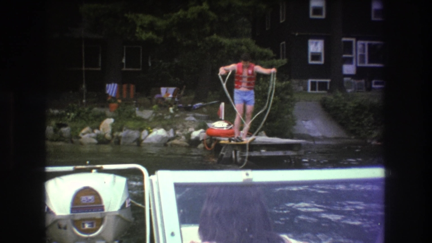 BOSTON USA-1975: Boating Fail From Dock At Lake House #1042737652