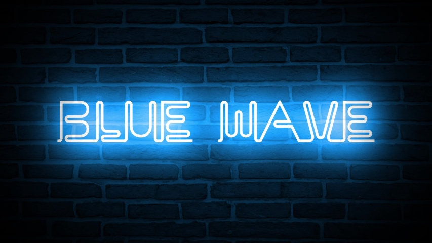 A video of a neon sign against a brick wall that reads: Blue Wave | Shutterstock HD Video #1042746853