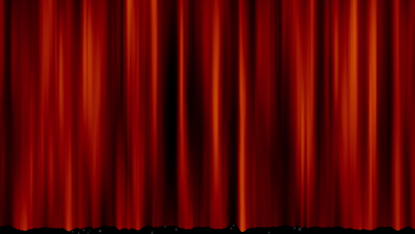 Animation of red curtain revealing snowflakes and Christmas glowing lights falling on black background | Shutterstock HD Video #1042784113
