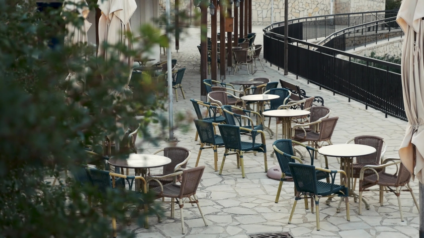 Street cafe. Terrace. Empty restaurant | Shutterstock HD Video #1042800097