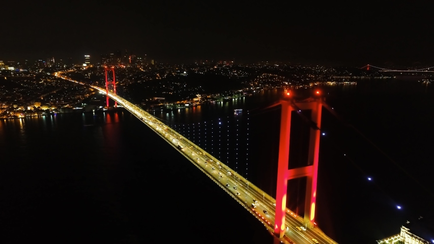Aerial Night view of Istanbul, Bosphorus with illuminated Bridges. Cinematic panorama. Smooth flowing, heavy traffic during rush hour on Bosporus Bridge. Hundreds of thousands of vehicles use Istanbul | Shutterstock HD Video #1042801846