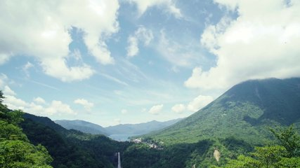 Blue sky, The Cloud moving over super nature mountain landscape 'Kegon Falls' waterfall and Lake Chuzenji in summer. One of Nikko's most famous