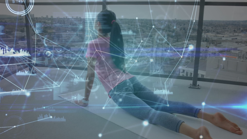 Animation of data processing with a rear view of a young woman stretching on a yoga mat with cityscape in the background | Shutterstock HD Video #1042814077