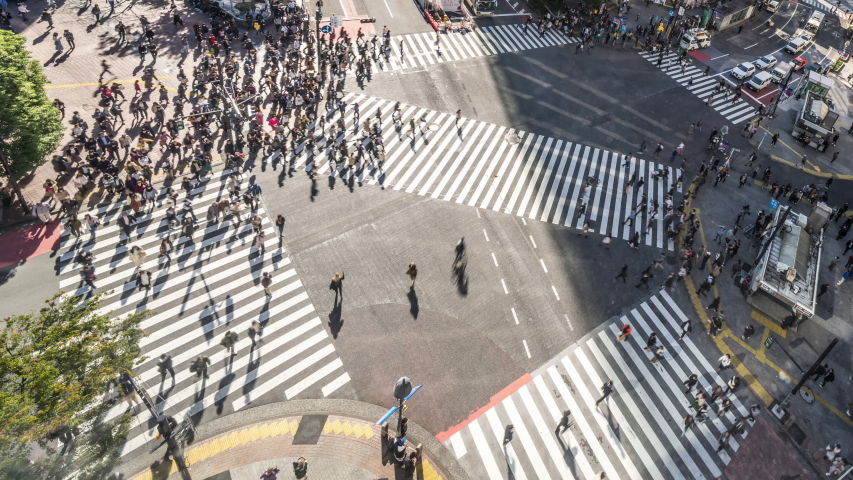 4K Time-lapse of Shibuya scramble crossing, crowded people walk, car traffic transport. High angle view, zoom out. Tokyo tourist attraction, Japan tourism, Asia transportation, Asian city life concept Royalty-Free Stock Footage #1042819039