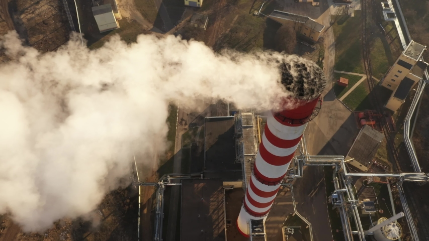 GLOBAL WARMING Pipes Pollute Industry Atmosphere With Smoke Ecology pollution, Industrial factory pollutes, smoke stacks exhaust pipes,Top Industry Sources The World's Polluting Indust. Royalty-Free Stock Footage #1042821058
