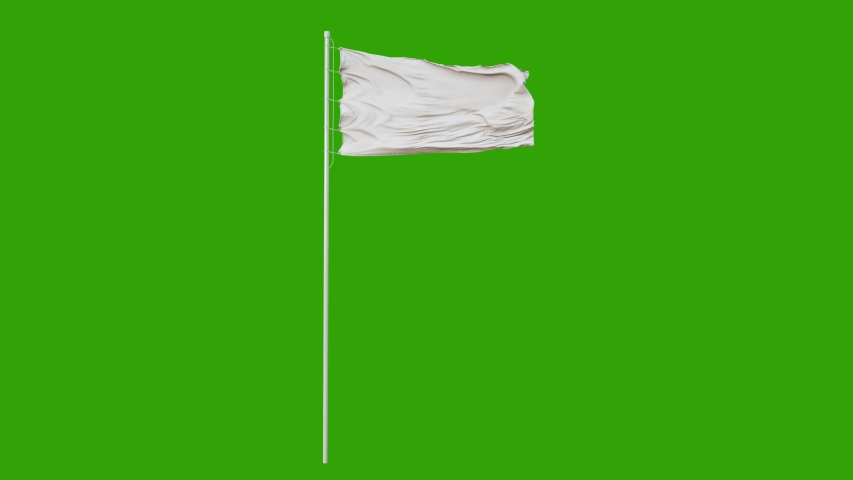 Blank plain white flag waving in the wind, surrender flag 3D animation with green screen. 4K