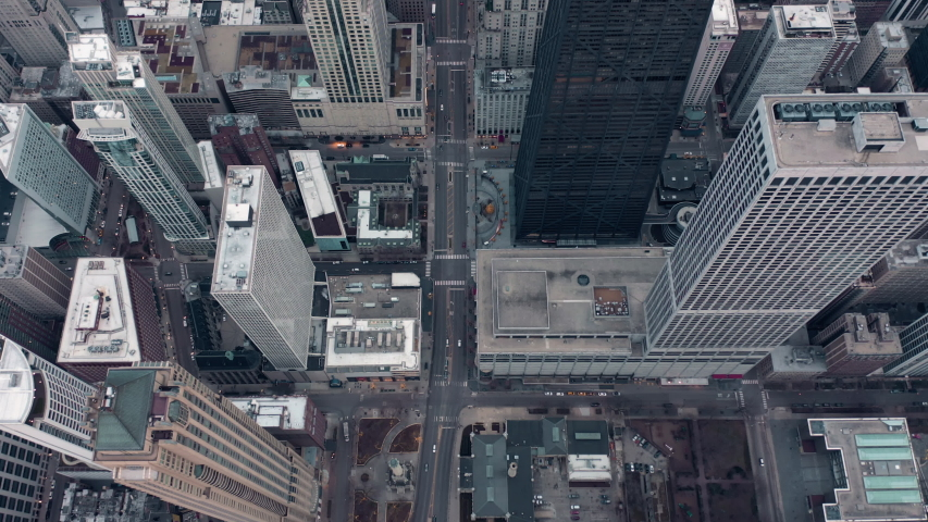 Overhead aerial view above Michigan avenue with skyscrapers in Chicago. Famous shopping destination | Shutterstock HD Video #1042855261
