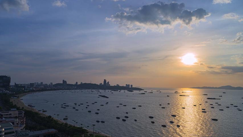 4K.Time lapse  Sunset at Pattaya Beach, Chonburi, Thailand Royalty-Free Stock Footage #1042855273