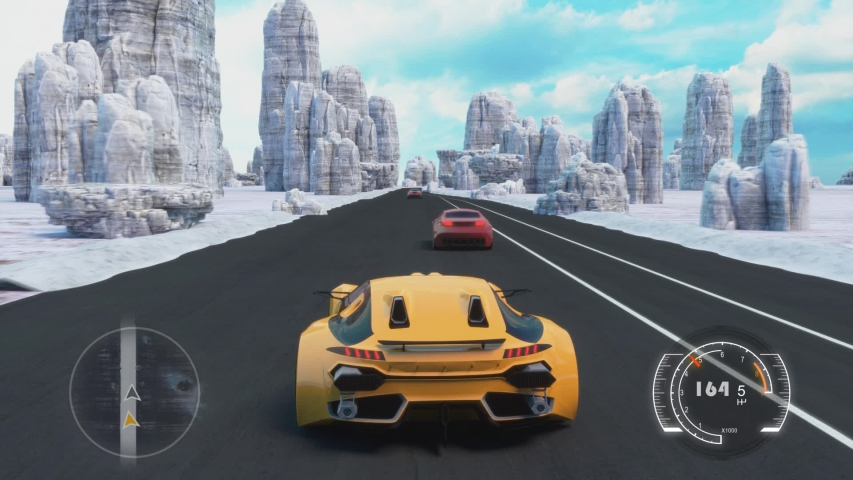 Speed Racing 3d Video Game With Interface. Sports Cars Compete On The Road In Winter. Gameplay Screen. | Shutterstock HD Video #1042878907