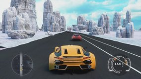 Speed Racing 3d Video Game With Interface. Sports Cars Compete On The Road In Winter. Gameplay Screen.