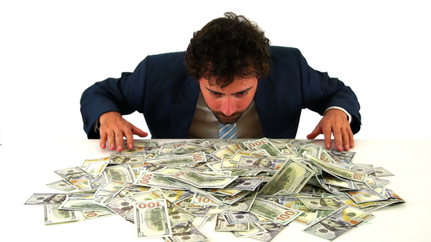 Happy Businessman Throwing Heap of Dollar Money USD, White Background   Shutterstock HD Video #1042895713