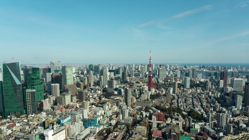 Tokyo, Japan- February 6, 2019: UHD time lapse video of Tokyo Tower in japan asia Is a famous place with cityscape view | Shutterstock HD Video #1042908871