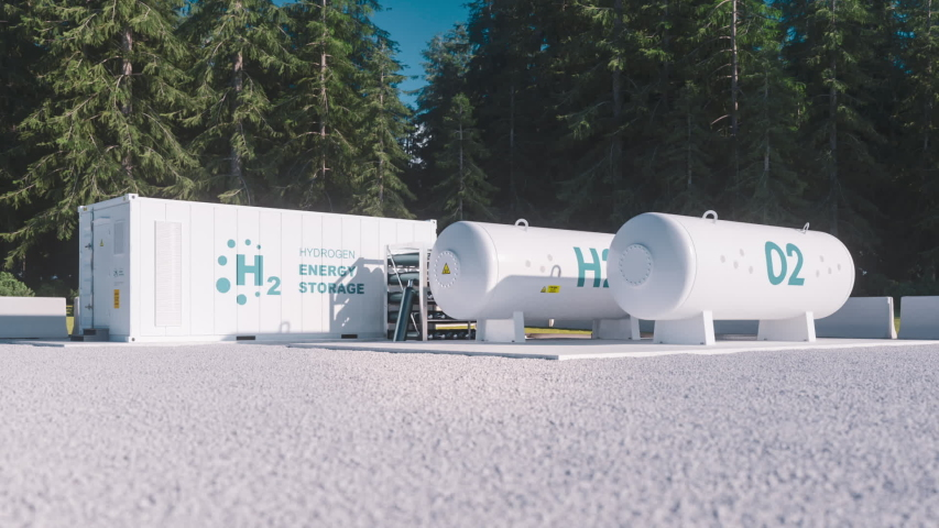 Environmentally friendly solution of renewable energy storage - hydrogen gas to clean electricity facility situated in forest environment. 3d rendering. | Shutterstock HD Video #1042912282