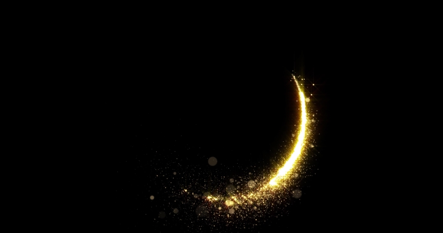 Gold glitter circle of light shine sparkles and golden spark particles spin trail on black background. Christmas magic stars glow, firework confetti of glittery ring shimmer | Shutterstock HD Video #1042924906