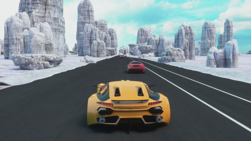 Speed Racing 3d Video Game Imitation. Sports Cars Compete On The Road In Winter. Gameplay Screen.   Shutterstock HD Video #1042925854