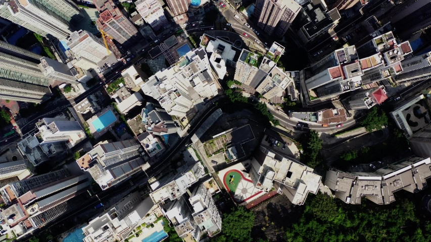 Aerial scenery panoramic view from drone of Hong Kong modern skyscrapers district. Top view, urban downtown with corporate business and financial enterprise buildings. Metropolitan city infrastructure #1042929922
