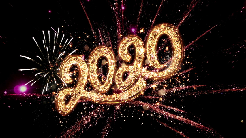 Happy New Year 2020 Greeting Card Text Reveal from Golden Firework sparks and magic particles on black background, beautiful typography design best for Holiday Celebration, Wishes, Events, Party | Shutterstock HD Video #1042931383