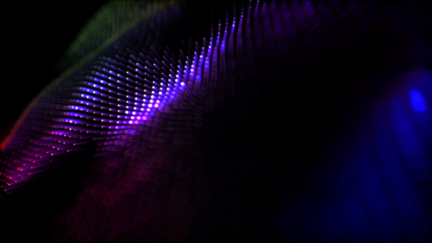 Round particles with neon glow move slowly on a black background. Abstract animated background. 3d render   Shutterstock HD Video #1042936060