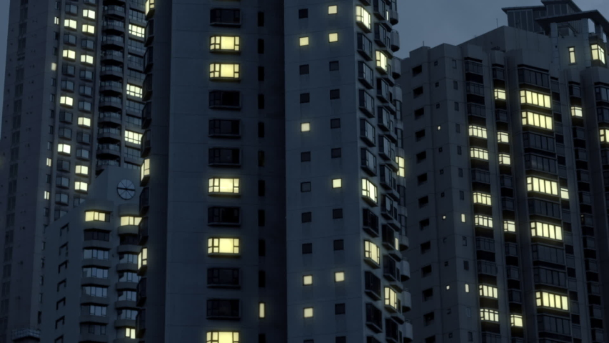 City Blackout. Power outage in an area of high rise apartment buildings.  Royalty-Free Stock Footage #1042939099
