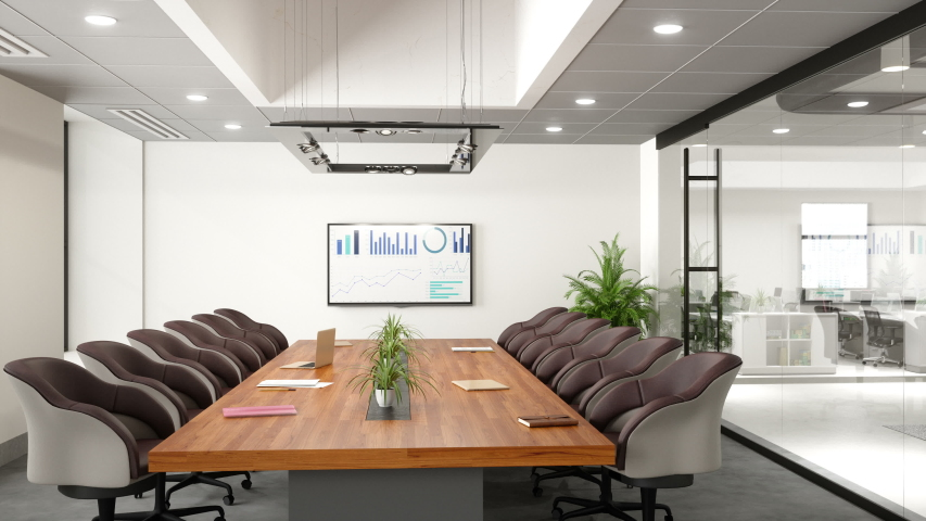 Contemporary Meeting Room - 3d Rendering | Shutterstock HD Video #1042944328