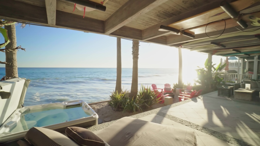 Ocean view from beach property on PCH, shot of real estate interior, house holding in California: Los Angeles, California / United States - 11 29 2019