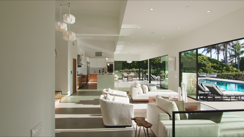 Modern interior in luxury house, houses in Malibu, shot of real estate interior, house holding in California: Los Angeles, California / United States - 11 29 2019